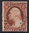 Sc. 11 1851-57 Issue.  (Rare position 47-R-6).  F-VF+ brown carmine color.  Lines on bust & buttom of medalion recut.  Light June 8, 1857 CDS.  Just touches @ bottom    Net Price....$35.00