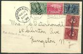 Sc. 328-330 tied by Jamestown slogan cancel to New York by Special Delivery with DUES    $175.00