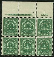 Sc. O-122  F-VF never hinged plate block of 6    $3300.00
