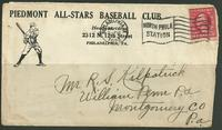 1923 Piedmont All Star Baseball Club advertising cover   $185.00