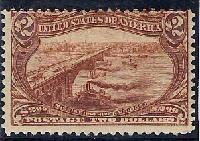 Sc. 293  1898 Trans-Mississippi Issue  Fine hinged example with 3 large margins & 4th cutting in @ the top.  Catalog value.....$2100.00   Net Price....$900.00