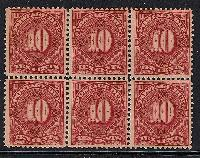 Sc. J-42  1895 Postage Due Issue.  F-VF never hinged block of 6   Net Price....$1500.00