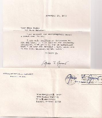 Spiro Agnew free frank cover with letter claiming his innocence in a signed letter.  Interesting piece of political history.   Net Price....$225.00